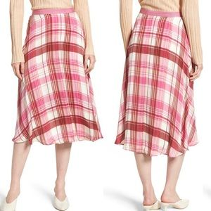 Lewit Pink Plaid Silk Skirt Size 6 NWOT